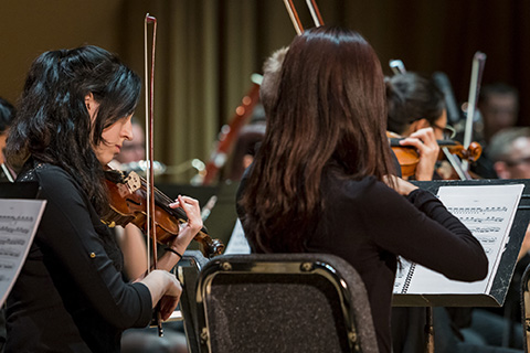 Violinists perform live in concert