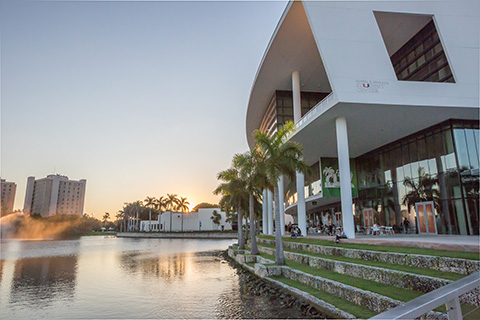 The outside of the student center at the University of Miami
